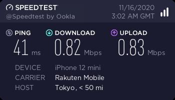 楽天モバイルのeSIMで通信が出来ない時の速度